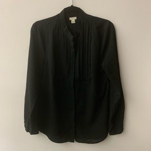 J. Crew Black Button Down Blouse Sz M